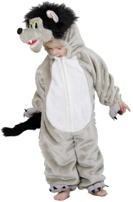Déguisement de loup en peluche de qualité, convient à un enfant