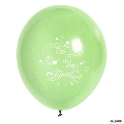 Sachet 10 ballons Vive Les Mariés, Vert tilleul