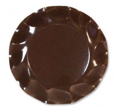 Vaisselle jetable, 10 assiettes 21cm chocolat