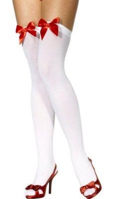 Paire de Bas nylon blancs, avec noeuds rouges