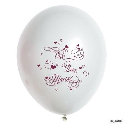Sachet 10 ballons Vive Les Mariés, Blanc