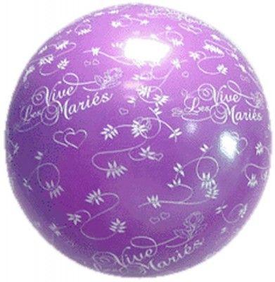 Ballon Géant Lilas, vive les mariés - 1 mètre