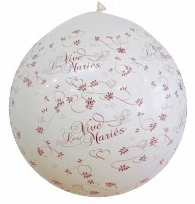 Ballon Géant Blanc, vive les mariés - 1 mètre