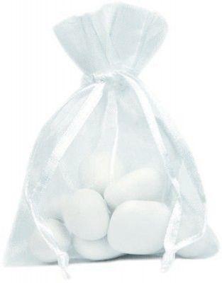 Sachet de 10 Bourses organdi à lacet, Blanc