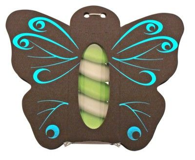 Ballotin papillon avec plexi CHOCOLAT, décos bleu (tq)