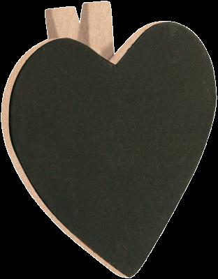 Lot de 6 Ardoises forme COEUR pince, couleur naturel/Ivoire