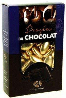 Sachet 500g de dragées CHOCOLAT - OR brillant