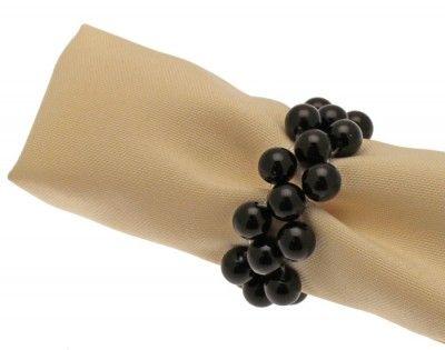 Sachet de 2 ronds de serviette en Perles, en Noir