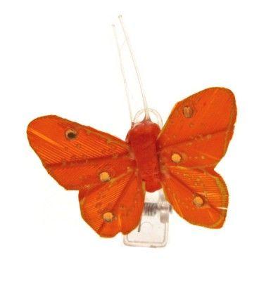 Sachet 4 Mini-Papillons STRASS sur pincette, Orange