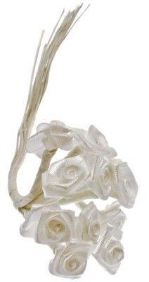 Sachet de 72 mini-roses satin (6 x 12 FL520) - Blanc