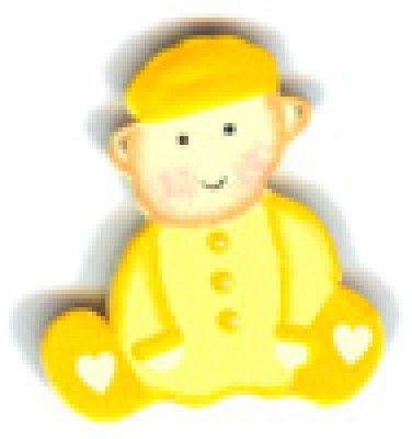 Sachet 10 sujets en bois autocollants Garçon, jaune
