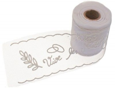 Plaquette tulle Vive Les Mariés - 10 METRES - Blanc