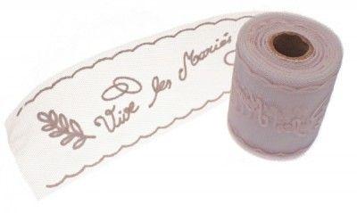 Plaquette tulle Vive Les Mariés - 10 METRES - Rose