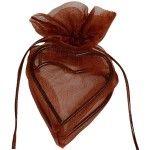 Sachet de 4 coeurs avec armature, Chocolat