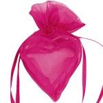 Sachet de 4 coeurs avec armature, Fuchsia
