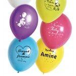 Lot 100 Ballons PERSONNALISÉS, 25/29cm coloris Foncés, impression en blanc