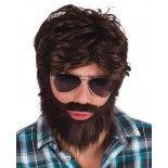 Perruque Dodd, barbe brune et moustache