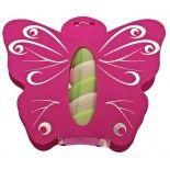 Ballotin papillon avec plexi rose FUCHSIA, décos argents